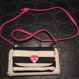 Betsy Johnson Crossbody Purse ivory Black pink
